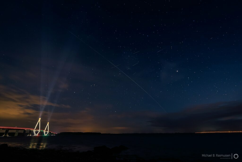 The ISS passing Farø bridge
